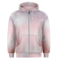Love Heart Pink Valentine Flower Leaf Men s Zipper Hoodie by Mariart