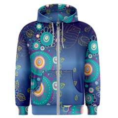 Flower Blue Floral Sunflower Star Polka Dots Sexy Men s Zipper Hoodie by Mariart