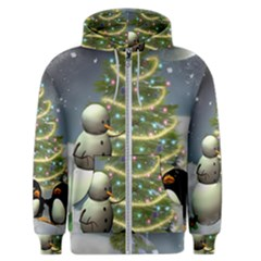 Funny Snowman With Penguin And Christmas Tree Men s Zipper Hoodie by FantasyWorld7