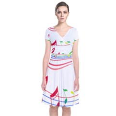 Rainbow Red Green Yellow Music Tones Notes Rhythms Short Sleeve Front Wrap Dress by AnjaniArt