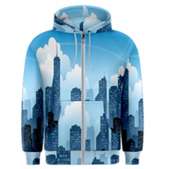 City Building Blue Sky Men s Zipper Hoodie by Mariart