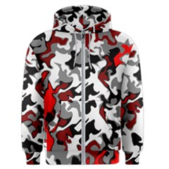 Vector Red Black White Camo Advance Men s Zipper Hoodie by Mariart