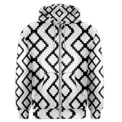 Abstract Tile Pattern Black White Triangle Plaid Chevron Men s Zipper Hoodie by Alisyart