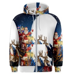 Christmas Reindeer Santa Claus Snow Night Moon Blue Sky Men s Zipper Hoodie by Alisyart