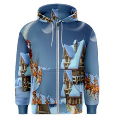 Christmas Reindeer Santa Claus Wooden Snow Men s Zipper Hoodie by Alisyart