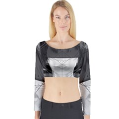 Beautiful Bnw Fractal Feathers For Major Motoko Long Sleeve Crop Top by jayaprime