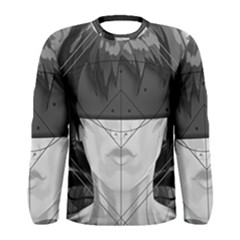 Beautiful Bnw Fractal Feathers For Major Motoko Men s Long Sleeve Tee by jayaprime