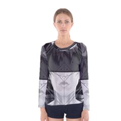 Beautiful Bnw Fractal Feathers For Major Motoko Women s Long Sleeve Tee by jayaprime