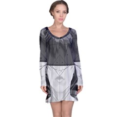 Beautiful Bnw Fractal Feathers For Major Motoko Long Sleeve Nightdress by jayaprime