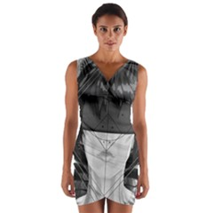 Beautiful Bnw Fractal Feathers For Major Motoko Wrap Front Bodycon Dress by jayaprime