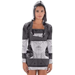 Beautiful Bnw Fractal Feathers For Major Motoko Long Sleeve Hooded T Shirt by jayaprime