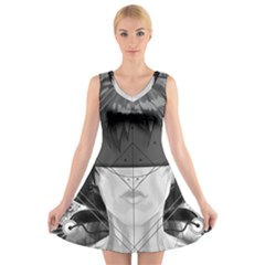 Beautiful Bnw Fractal Feathers For Major Motoko V Neck Sleeveless Skater Dress by jayaprime
