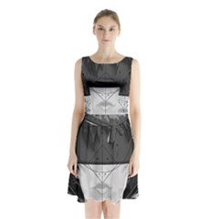Beautiful Bnw Fractal Feathers For Major Motoko Sleeveless Waist Tie Chiffon Dress by jayaprime