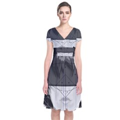 Beautiful Bnw Fractal Feathers For Major Motoko Short Sleeve Front Wrap Dress by jayaprime