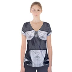Beautiful Bnw Fractal Feathers For Major Motoko Short Sleeve Front Detail Top by jayaprime