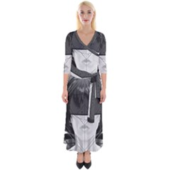 Beautiful Bnw Fractal Feathers For Major Motoko Quarter Sleeve Wrap Maxi Dress by jayaprime