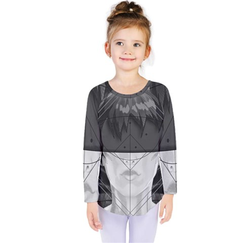Beautiful Bnw Fractal Feathers For Major Motoko Kids  Long Sleeve Tee by jayaprime