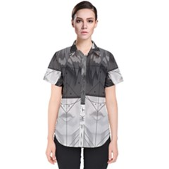 Beautiful Bnw Fractal Feathers For Major Motoko Women s Short Sleeve Shirt by jayaprime