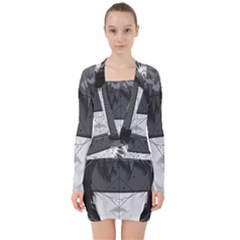 Beautiful Bnw Fractal Feathers For Major Motoko V-neck Bodycon Long Sleeve Dress by jayaprime