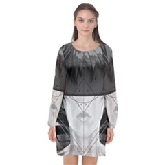 Beautiful Bnw Fractal Feathers For Major Motoko Long Sleeve Chiffon Shift Dress  by jayaprime