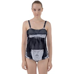 Beautiful Bnw Fractal Feathers For Major Motoko Twist Front Tankini Set by jayaprime