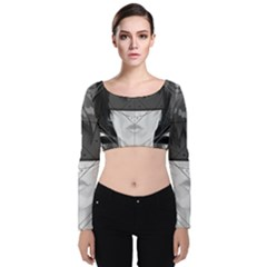 Beautiful Bnw Fractal Feathers For Major Motoko Velvet Long Sleeve Crop Top by jayaprime