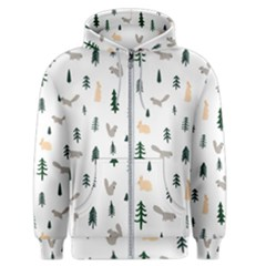 Squirrel Rabbit Tree Animals Snow Men s Zipper Hoodie by Alisyart