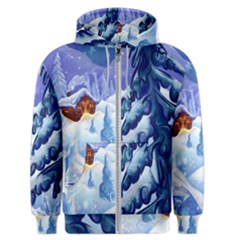 Christmas Wooden Snow Men s Zipper Hoodie by Alisyart