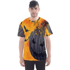 Halloween Pumpkin Bat Ghost Orange Black Smile Men s Sports Mesh Tee