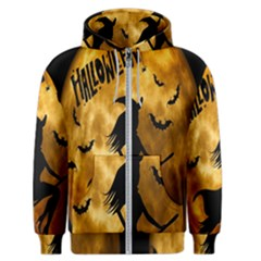 Halloween Wicked Witch Bat Moon Night Men s Zipper Hoodie by Alisyart