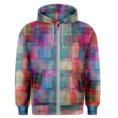 Rainbow Prism Plaid  Men s Zipper Hoodie by KirstenStar