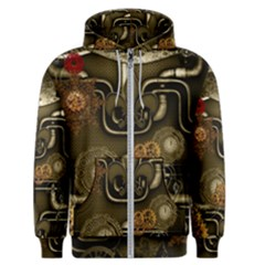 Wonderful Noble Steampunk Design, Clocks And Gears And Butterflies Men s Zipper Hoodie by FantasyWorld7