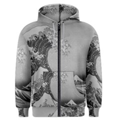 Black And White Japanese Great Wave Off Kanagawa By Hokusai Men s Zipper Hoodie by PodArtist