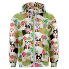 Hula Corgis Fabric Men s Zipper Hoodie by Celenk