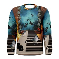 Music, Piano With Birds And Butterflies Men s Long Sleeve Tee by FantasyWorld7