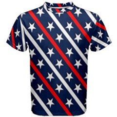 Patriotic Red White Blue Stars Men s Cotton Tee