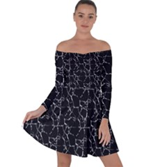 Black And White Textured Pattern Off Shoulder Skater Dress by dflcprints
