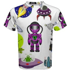Space Clip Art Aliens Space Craft Men s Cotton Tee