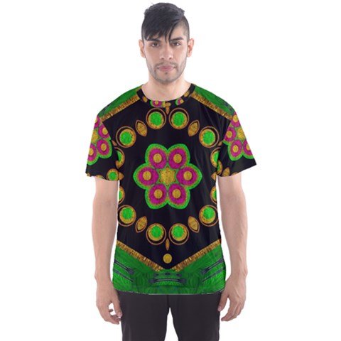 Magic Of Life A Orchid Mandala So Bright Men s Sports Mesh Tee by pepitasart