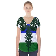 Flag Of Cascadia Short Sleeve Front Detail Top by abbeyz71