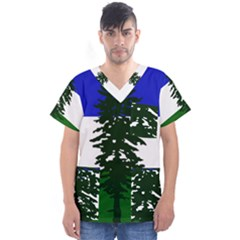 Flag Of Cascadia Men s V Neck Scrub Top by abbeyz71
