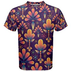 Abstract Background Floral Pattern Men s Cotton Tee
