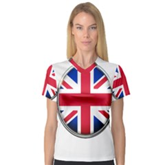 United Kingdom Country Nation Flag V Neck Sport Mesh Tee