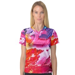 Abstract Art Background Paint V-neck Sport Mesh Tee