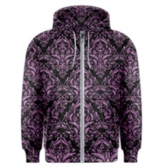 Damask1 Black Marble & Purple Glitter (r) Men s Zipper Hoodie by trendistuff