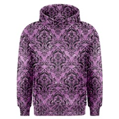 Damask1 Black Marble & Purple Glitter Men s Overhead Hoodie by trendistuff