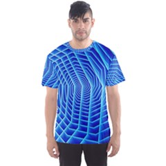 Blue Background Light Glow Abstract Art Men s Sports Mesh Tee