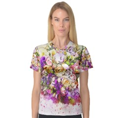 Flowers Bouquet Art Nature V Neck Sport Mesh Tee