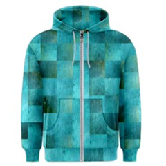 Background Squares Blue Green Men s Zipper Hoodie by Nexatart