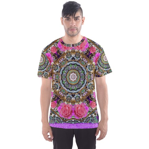Roses In A Color Cascade Of Freedom And Peace Men s Sports Mesh Tee by pepitasart